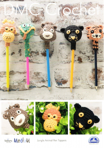 DMC Crochet Pattern `JUNGLE ANIMAL PEN TOPPERS`